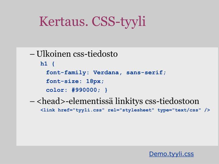 Kertaus. CSS-tyyli