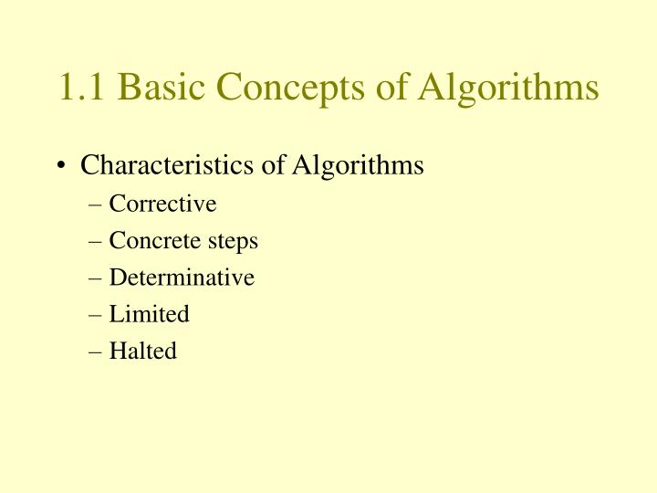 1.1 Basic Concepts of Algorithms
