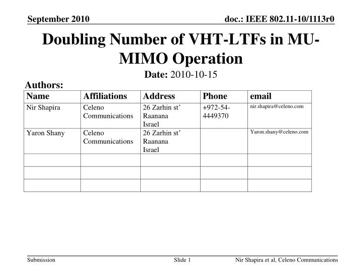 Doubling number of vht ltfs in mu mimo operation