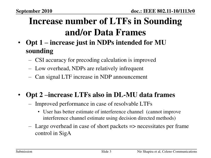Increase number of ltfs in sounding and or data frames