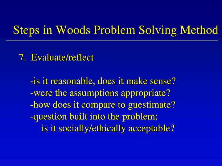 Steps in Woods Problem Solving Method