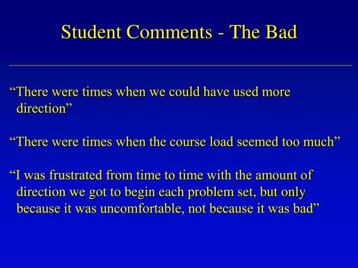 Student Comments - The Bad