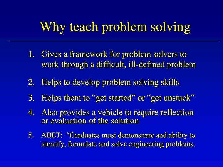 Why teach problem solving