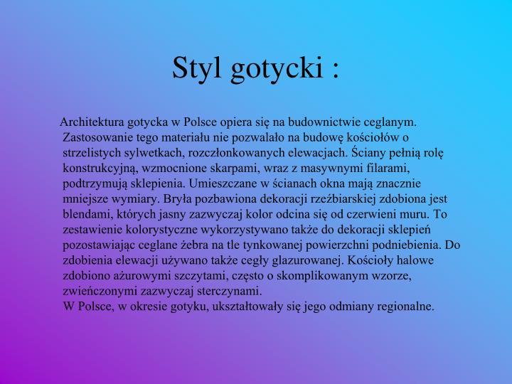 Styl gotycki :