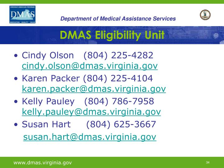 DMAS Eligibility Unit