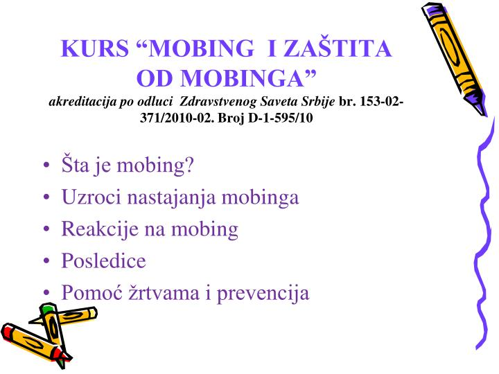 "KURS ""MOBING  I ZA"