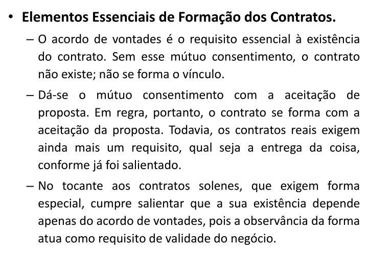 Elementos Essenciais de Formação dos Contratos.