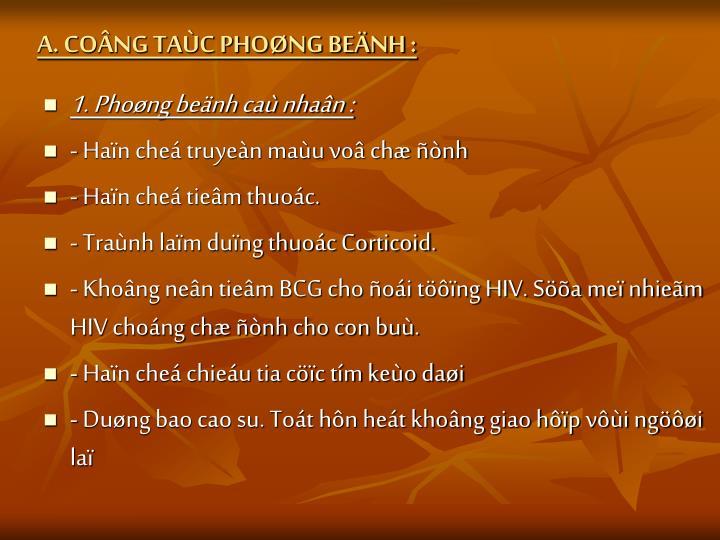 A. CONG TAC PHONG BENH :