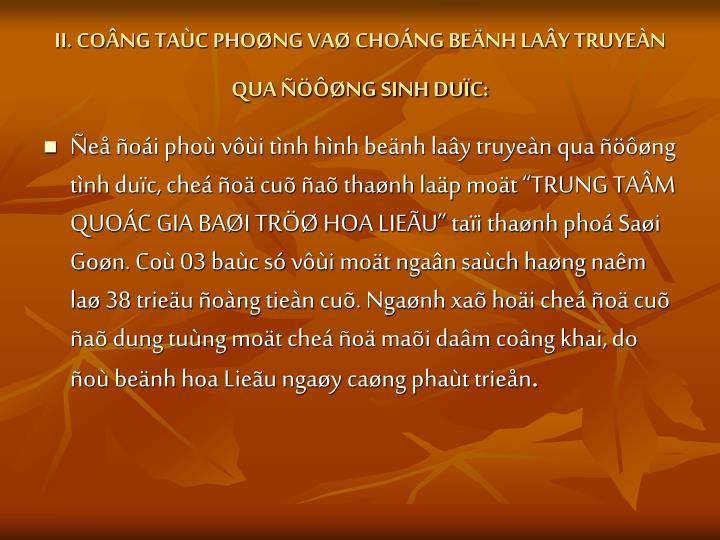 II. CONG TAC PHONG VA CHONG BENH LAY TRUYEN QUA NG SINH DUC: