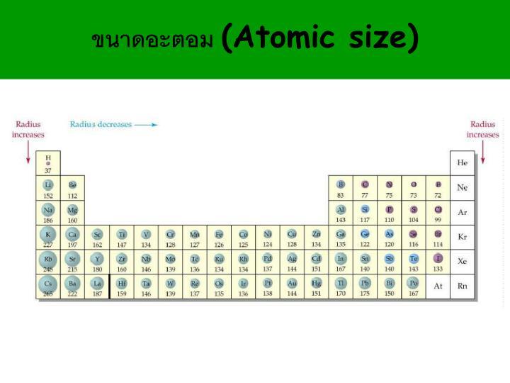 ขนาดอะตอม