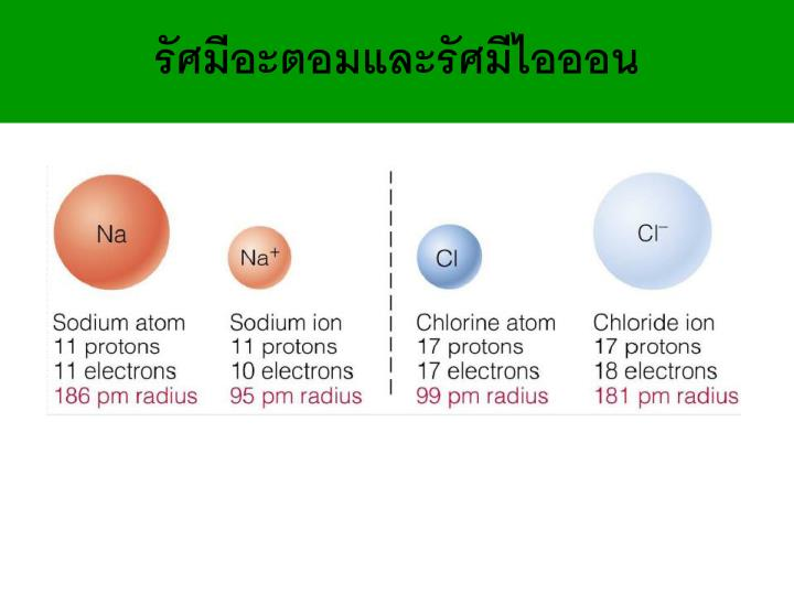 รัศมีอะตอมและรัศมีไอออน