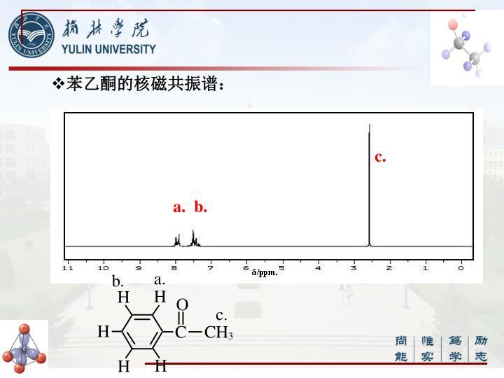苯乙酮的核磁共振谱: