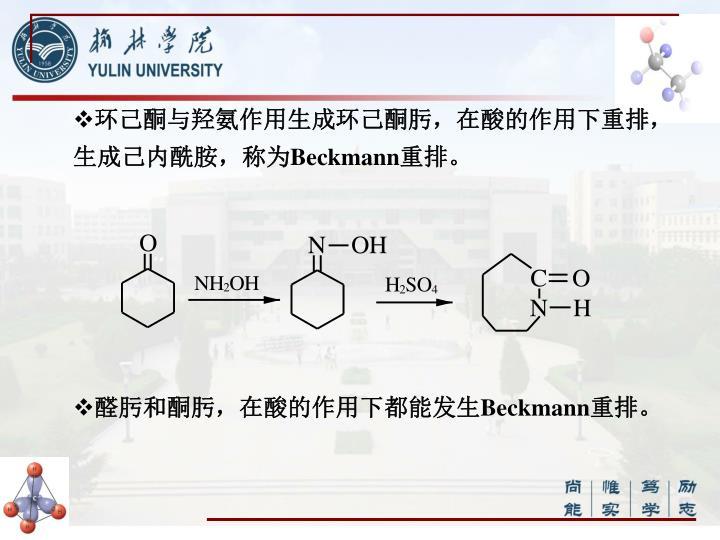环己酮与羟氨作用生成环己酮肟,在酸的作用下重排,生成己内酰胺,称为