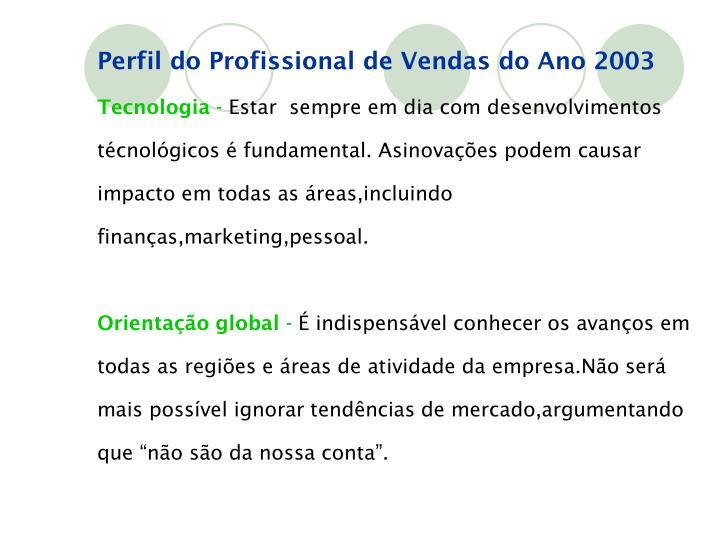 Perfil do Profissional de Vendas do Ano 2003