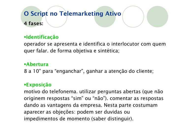 O Script no Telemarketing Ativo