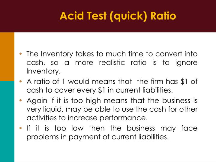 Acid Test (quick) Ratio