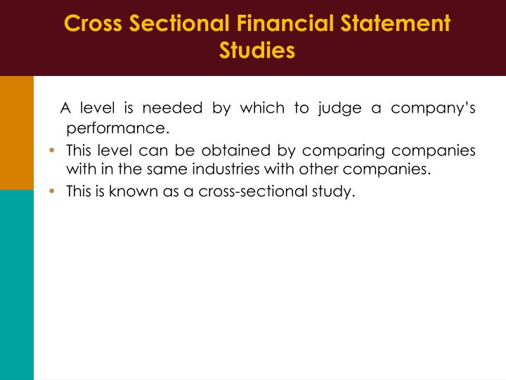 Cross Sectional Financial Statement Studies
