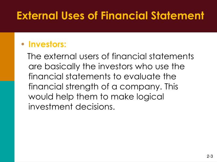 External uses of financial statement