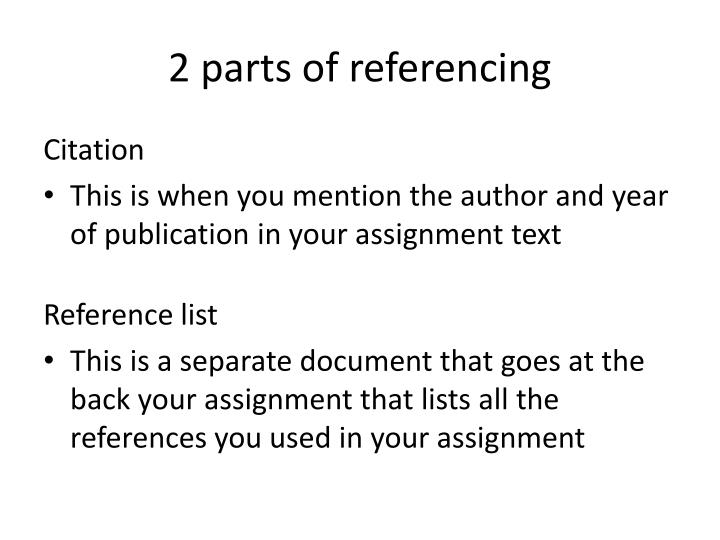 2 parts of referencing