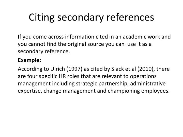 Citing secondary references