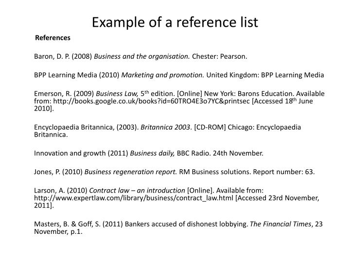 Example of a reference list