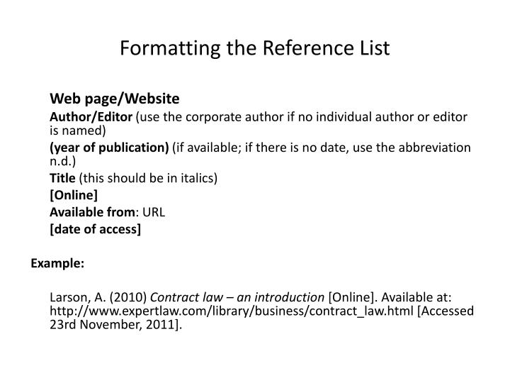 Formatting the Reference List