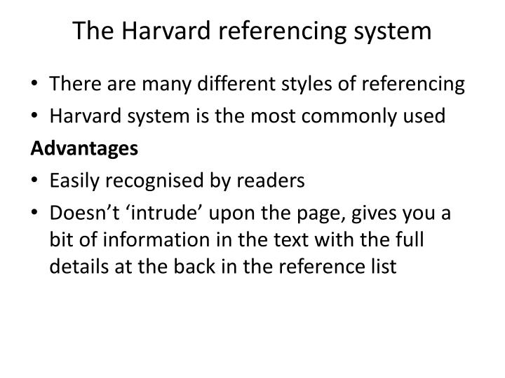 The harvard referencing system