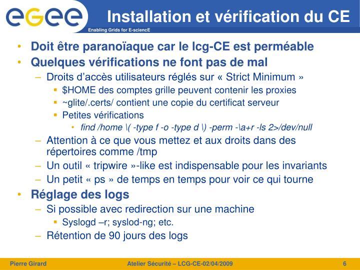 Installation et vérification du CE