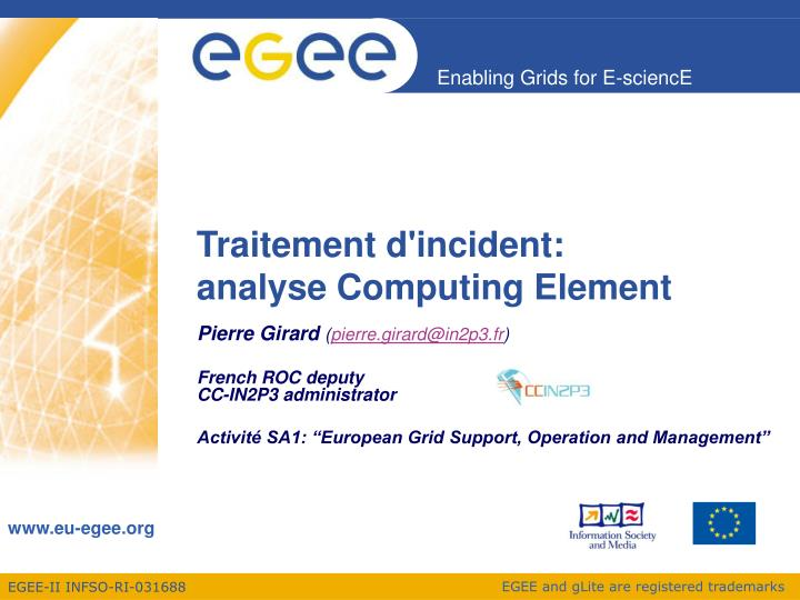 Traitement d incident analyse computing element