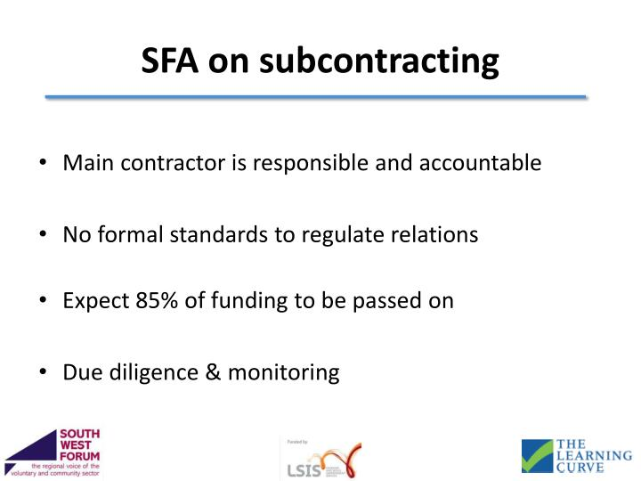 SFA on subcontracting
