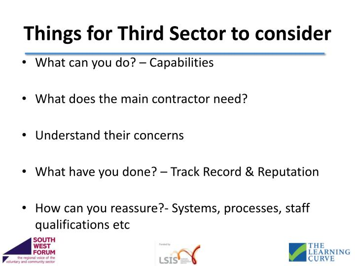 Things for Third Sector to consider