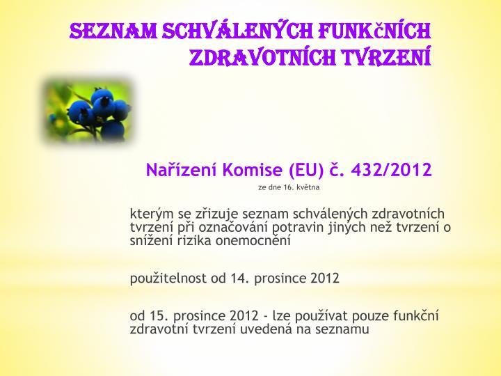Nařízení Komise (EU) č. 432/2012