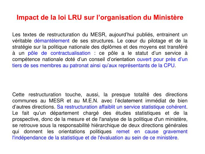 Impact de la loi LRU sur l'organisation du Ministère