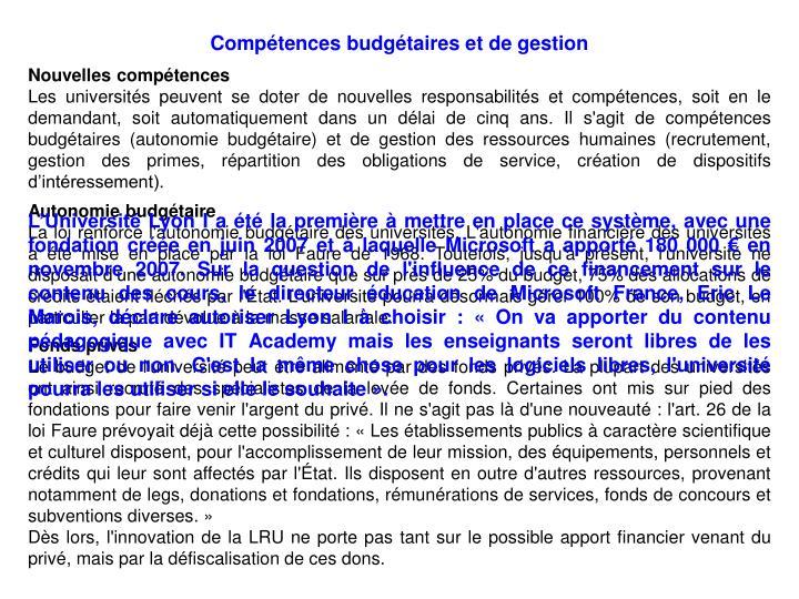 Compétences budgétaires et de gestion