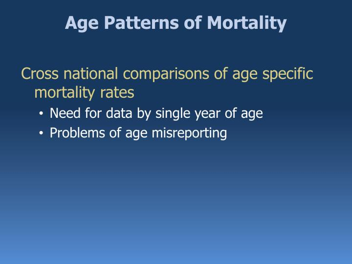 Age Patterns of Mortality