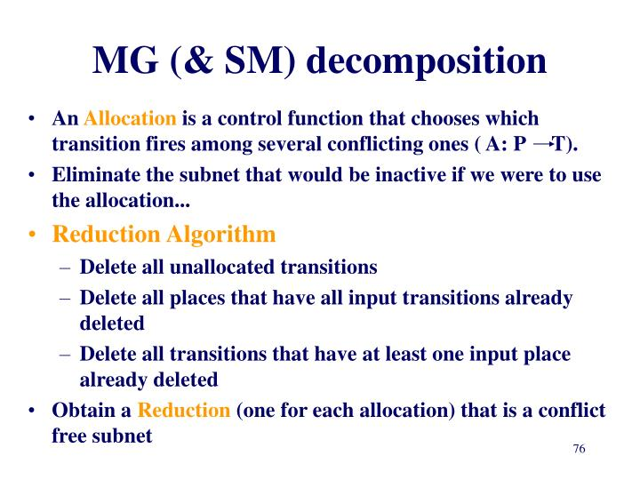 MG (& SM) decomposition