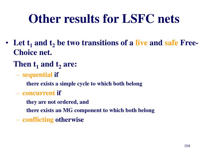 Other results for LSFC nets