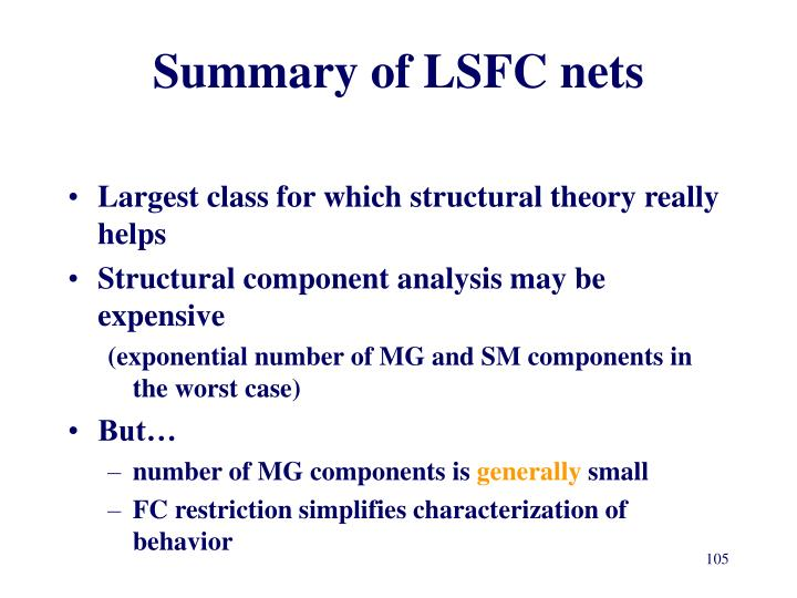 Summary of LSFC nets