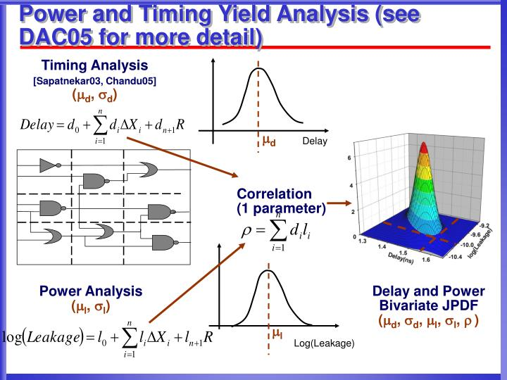 Power and Timing Yield Analysis (see DAC05 for more detail)