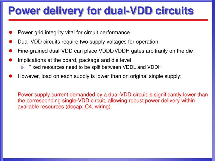 Power delivery for dual-VDD circuits