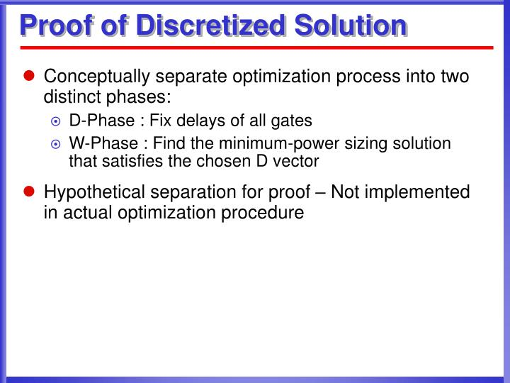 Proof of Discretized Solution