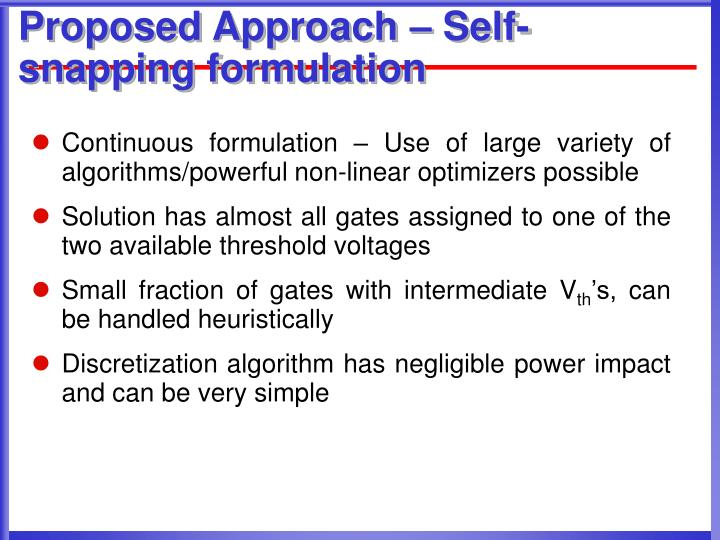 Proposed Approach – Self-snapping formulation