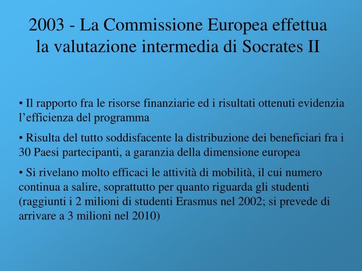 2003 - La Commissione Europea effettua la valutazione intermedia di Socrates II