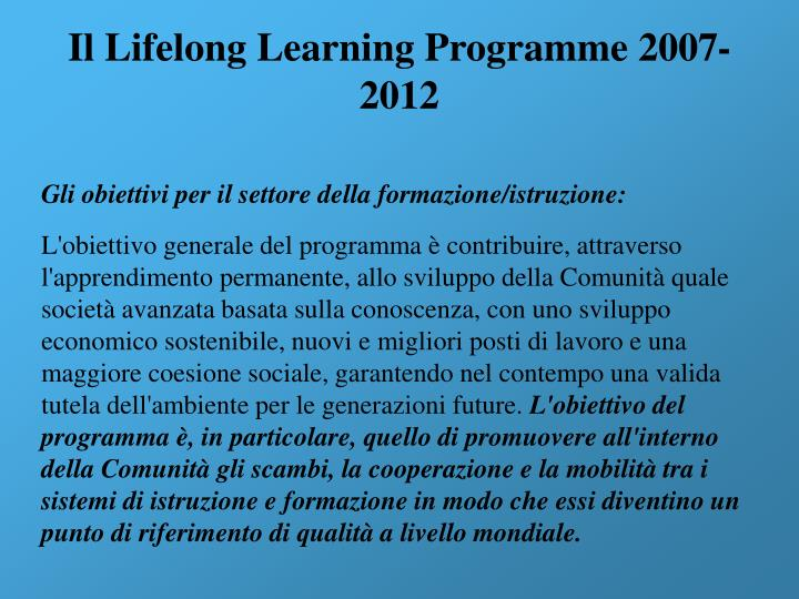 Il Lifelong Learning Programme 2007-2012