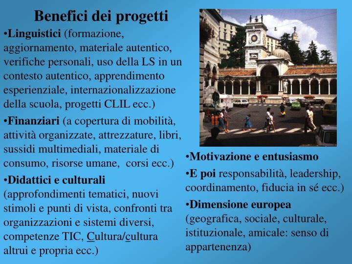 Benefici dei progetti