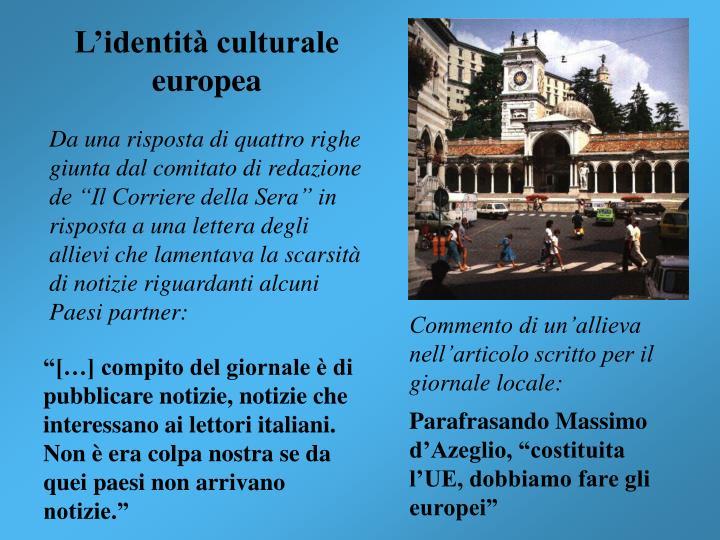 L'identità culturale europea
