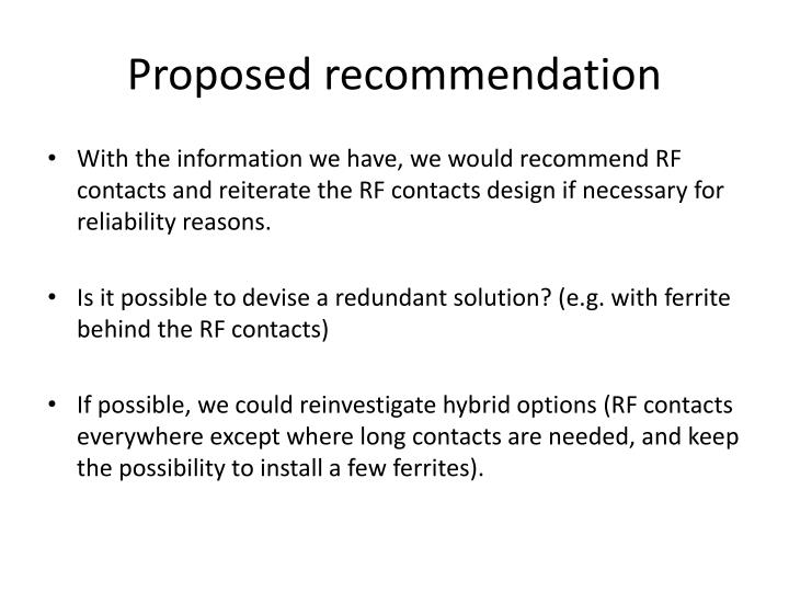 Proposed recommendation
