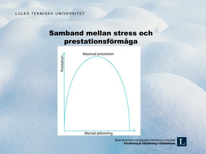 Samband mellan stress och prestationsförmåga