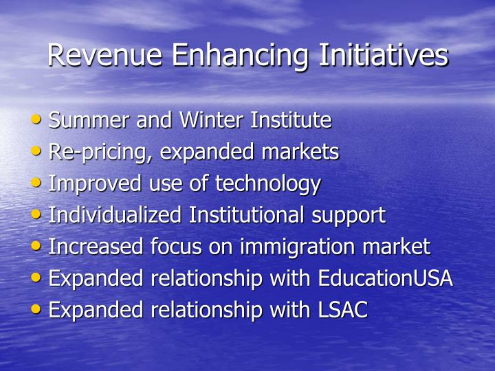 Revenue enhancing initiatives