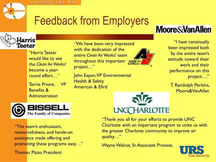 Feedback from Employers